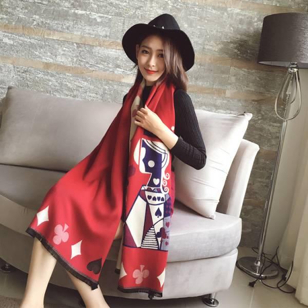 2019暖春新款圍巾 - <羊絨圍巾> 撲克女王圍巾