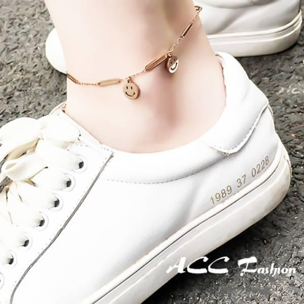 鈦鋼玫瑰金18K - 與妳分享的快樂 - 腳鍊 LadyA,可愛,優雅,時髦,休閒,韓風,簡約,韓國,鈦鋼,腳鏈,鈦鋼玫瑰金18K,微笑腳鍊,笑臉腳鍊