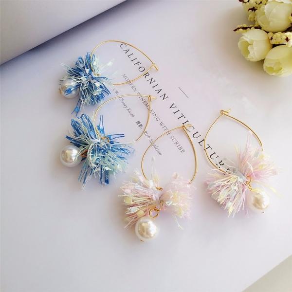 漸層裙襬搖搖珍珠耳環 LadyA,漸層,緞帶,珍珠,垂墜耳環,可愛,優雅,甜美