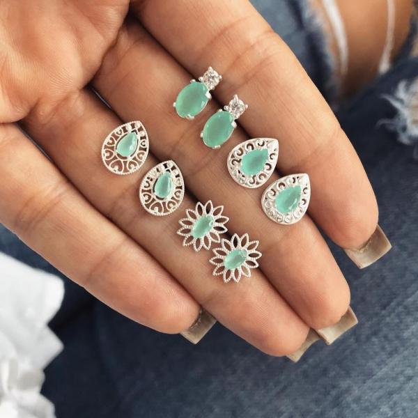 [歐美] 華麗的饗宴 · 藍寶石耳環 (4對套組)