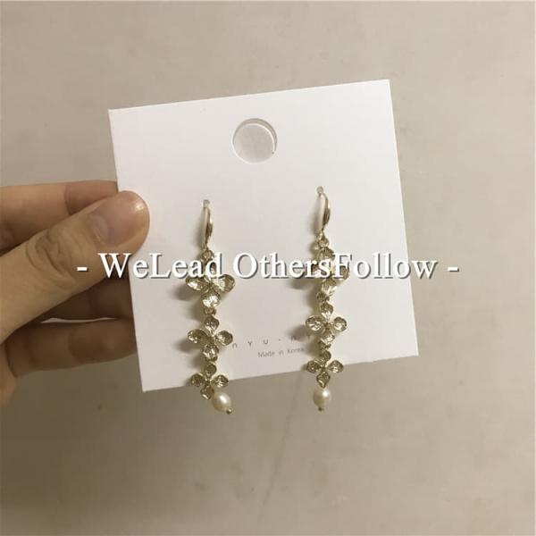 [韓國] 珍珠花垂簾鍍真金耳環