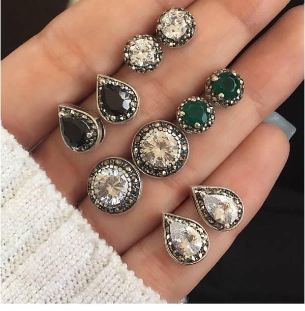 [歐美] 中古世紀愛丁堡 · 宮廷輕奢珠寶耳環 (5件套組)