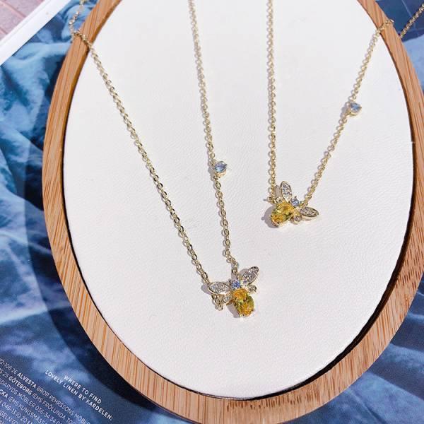 鍍14K真金 - 招財黃水晶小蜜蜂鋯鑽項鍊 LadyA 飾物女王,LadyA,蜜蜂項鍊.鍍14K項鍊,優雅,時髦,休閒,長鏈,閃亮項鍊,