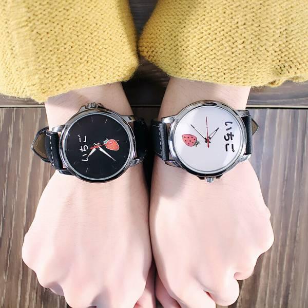 [韓國]潮流原宿風女錶皮帶時尚韓版男簡約可愛水果學生黑白情侶手錶