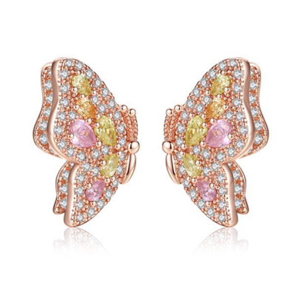 鍍真金 - 繽紛夢蝶耳環 - 彩色鋯石鑲嵌