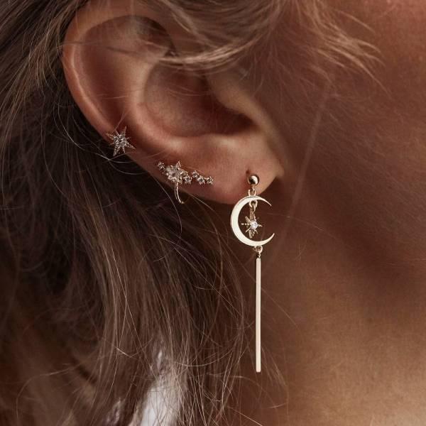 [歐美] 女王之羿 · 日月星辰耳環耳骨針套組 (3件)