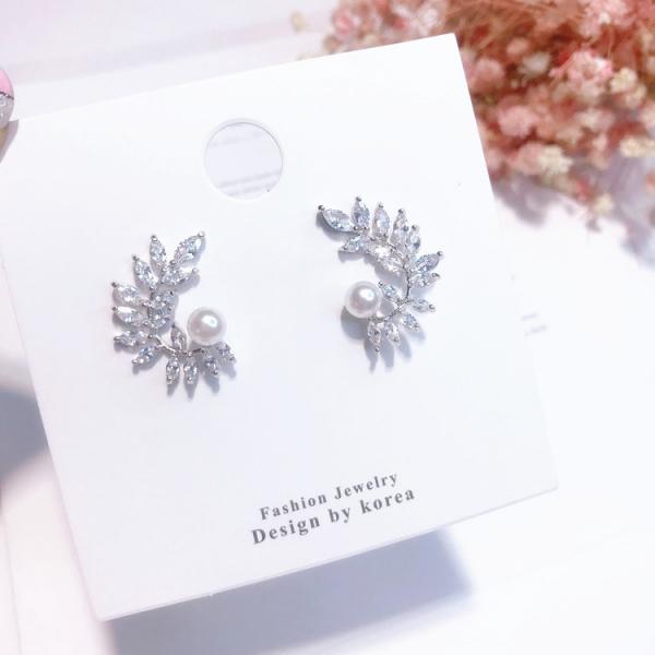 [韓國] 925銀針 - 魅惑天使的翅膀 - 珍珠晶鑽耳環