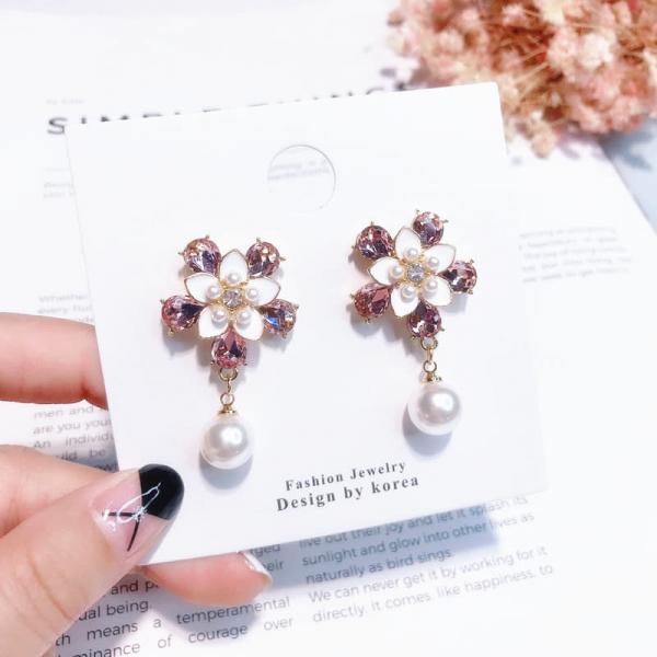 限量 | 韓國復古甜美少女粉鑽鑲嵌花朵珍珠吊墜耳環