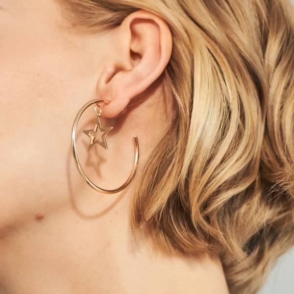 [歐美] 星環相映質感電鍍耳環