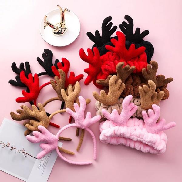 [韓國] 可愛聖誕鹿角髮箍毛絨麋鹿洗臉髮帶束髮壓髮洗臉頭箍賣萌搞怪髮飾