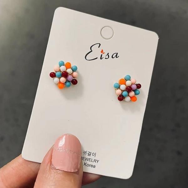限量 | 韓國東大門進口甜美彩色米珠小耳釘