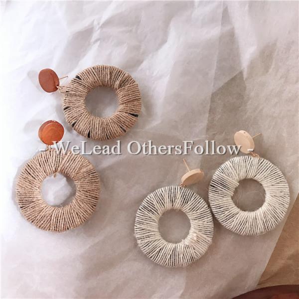 限量|韓國東大門代購 - 暖暖織木甜甜圈耳環(925銀針)