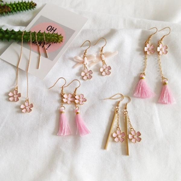 粉色流蘇長款耳環
