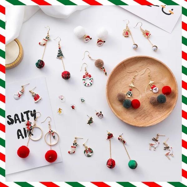 [韓國] 聖誕節耳環節日禮物個性聖誕老人禮物樹毛球拐杖糖果日韓時尚耳釘