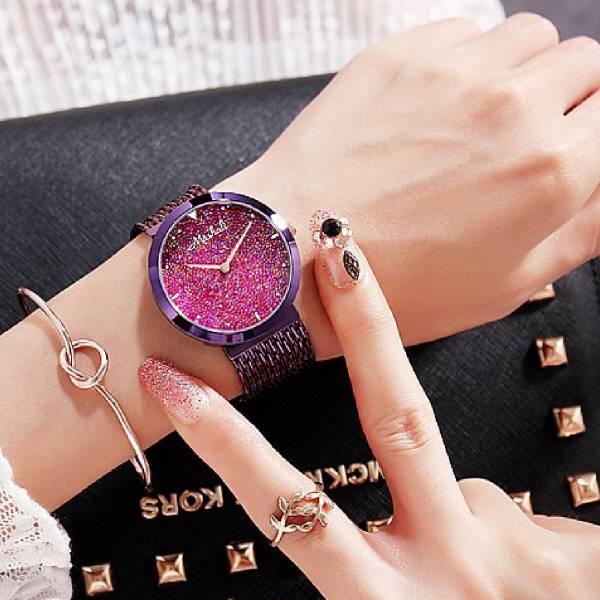 [瑞士] Mashali瑪莎莉 - 閃鑽星空銀河系錶盤.玫瑰金流蘇手錶 LadyA,LadyA飾物女王,手錶,時來運轉,金錶帶,黑錶帶,炫彩錶帶,閃亮框,Mashali,瑪莎莉,流蘇,錶帶