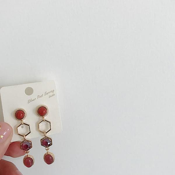 韓國東大門新款氣質鑲鑽復古民族風長款吊墜耳環
