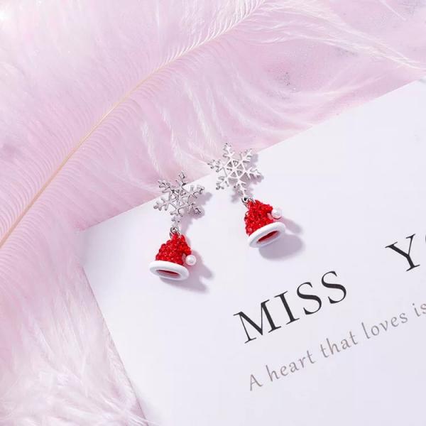 [韓國] 韓國聖誕節禮物雪花聖誕紅色帽子耳環甜美可愛珍珠雪花耳墜耳飾女