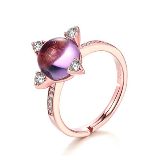 奧黛兒 - 天然紫水晶寶石女王戒婚戒 - 925純銀 (開口戒)