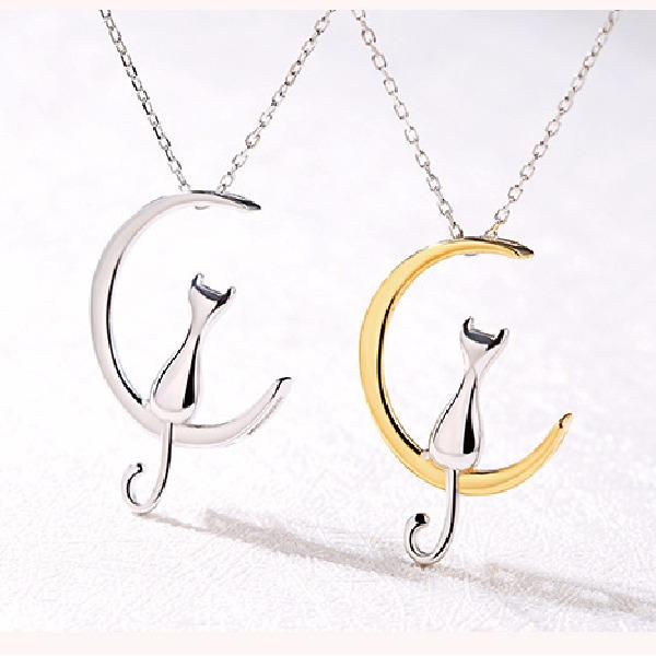 [韓國] 925純銀 - 小貓月亮項鍊 LadyA,可愛,優雅,時髦,休閒,韓風,簡約,韓國,短鏈, 925純銀,貓咪項鍊,月亮項鍊,貓咪,月亮
