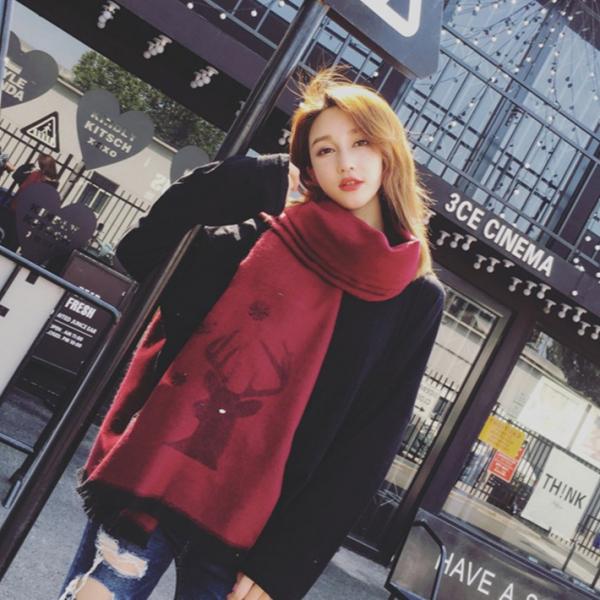 2019暖春新款 - 聖誕雪花羊絨圍巾 (3色)