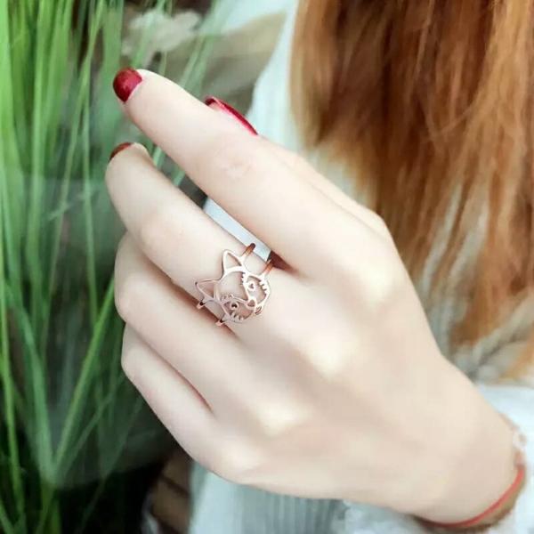 鈦鋼玫瑰金18K-大頭狗戒 316鈦鋼玫瑰金18K,LadyA,戒指,飾品,可愛,優雅,時髦,休閒,韓風,簡約,鈦鋼,玫瑰金戒指,玫瑰金,大頭狗戒指,狗造型戒指