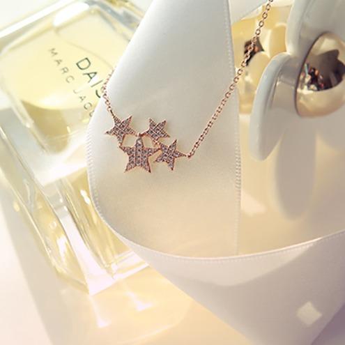 [韓國] 925純銀 - 星點夜空鋯鑽項鍊 LadyA,飾品,項鍊,項鏈,可愛,優雅,氣質,韓國,星星,星星首飾,星星項鍊,星形項鍊,鋯石,鋯石項鍊,抗敏,純銀,925銀,925