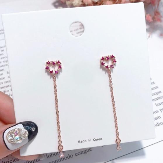 [韓國] 925銀針 - 心花開精緻小鑽耳環