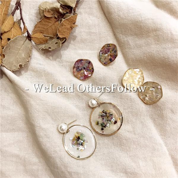 限量|滴油工藝 - 莫內午後花園 · 雅致浪漫珍珠彩色碎石耳環(925銀針)