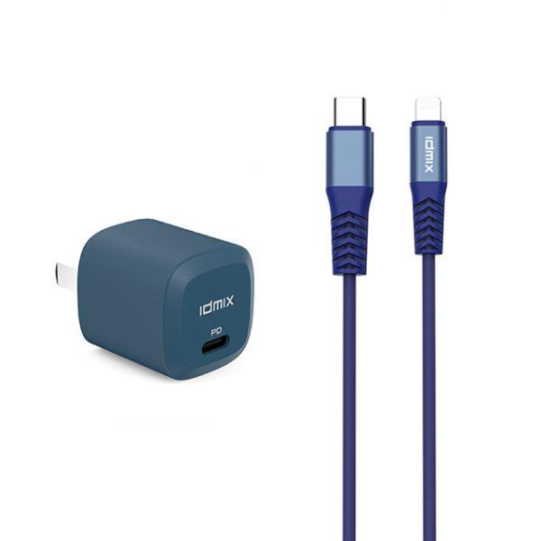 idmix PD20W 快充組合(C-MFI充電傳輸線+PD20W充電器)-白