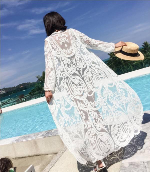 長版蕾絲繡花罩衫比基尼外罩衫 罩衫
