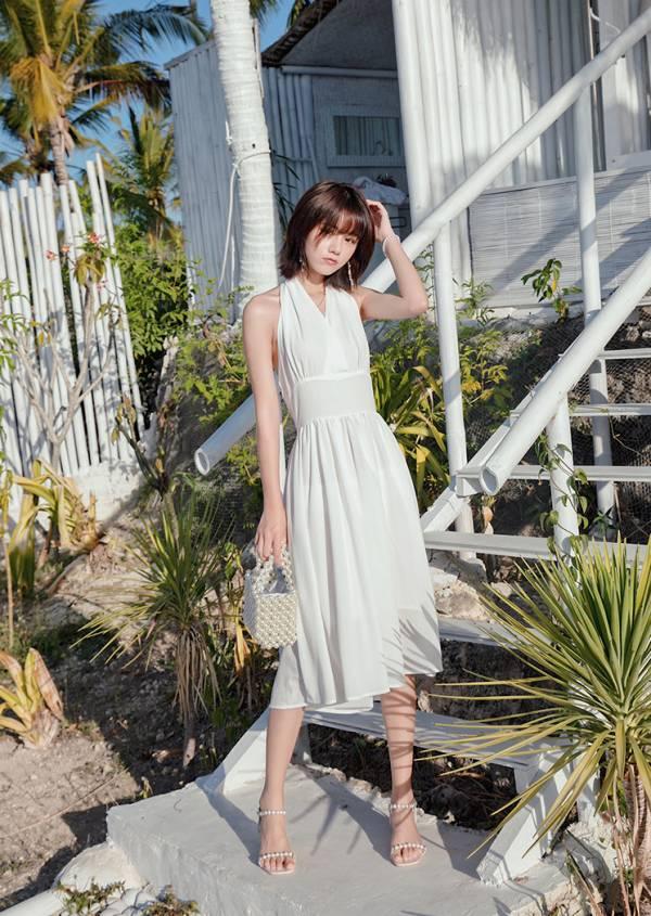 白色深V掛脖洋裝 渡假洋裝,長裙