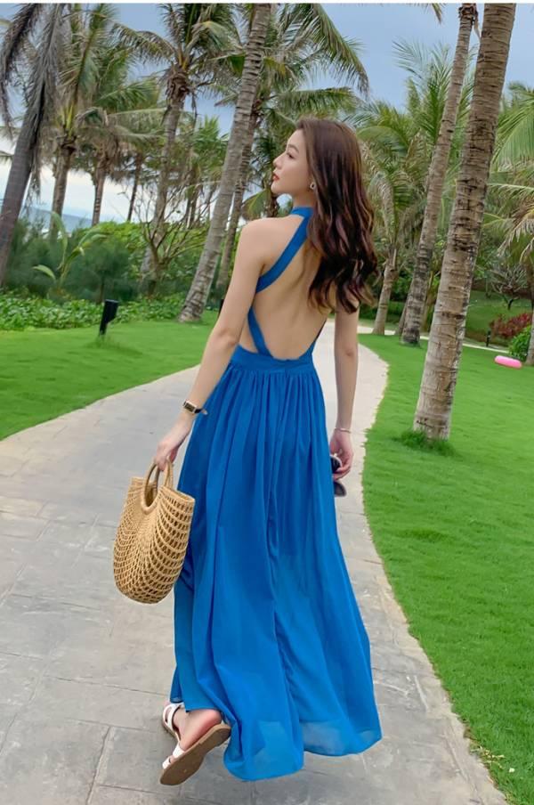 藍色掛脖美背長裙 渡假洋裝,長裙