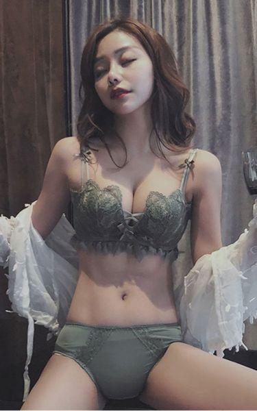 性感蕾絲爆乳美背無鋼圈內衣(綠) 內衣,美胸內衣,集中內衣,性感內衣