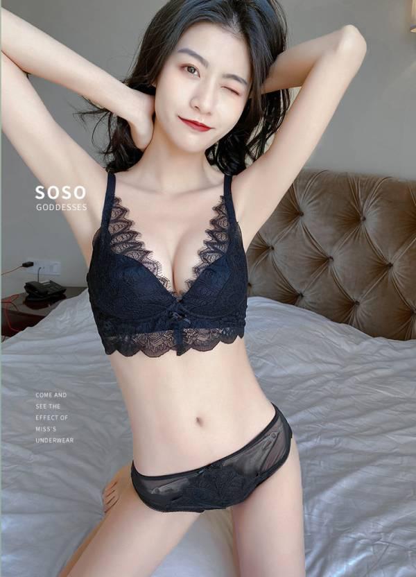 深V性感蕾絲無鋼圈內衣(黑) 內衣,美胸內衣,集中內衣,性感內衣