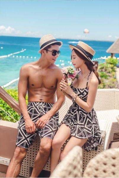 韓版情侶泳裝連身裙美背/男泳褲 情侶款泳衣,男款泳褲,連身泳裝