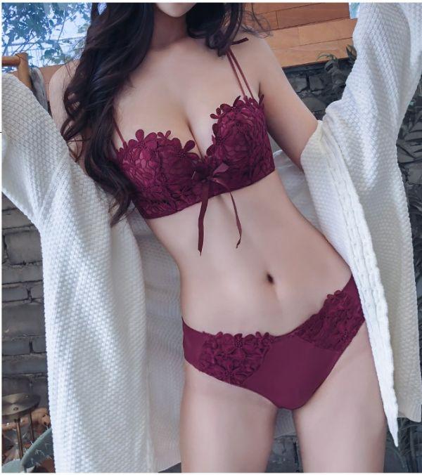 蕾絲花朵雙肩收副乳無鋼圈內衣(酒紅) 內衣,美胸內衣,集中內衣,性感內衣