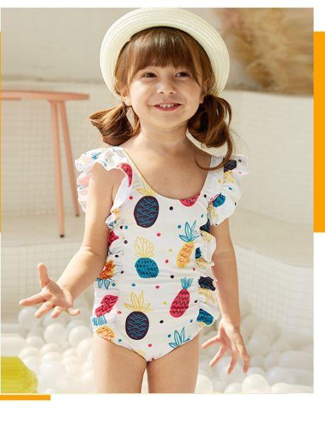 兒童彩色鳳梨連身泳衣 兒童泳裝,女童,兒童泳衣