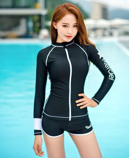 韓版防曬長袖黑色拉鍊款水母衣 長袖防曬泳衣