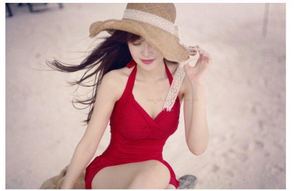 韓版連身裙式泳衣 連身遮肚泳衣
