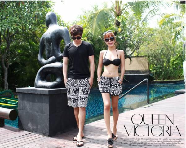 黑白圖騰情侶比基尼/沙灘褲 情侶款泳衣,比基尼,女款海灘褲,男款海灘褲