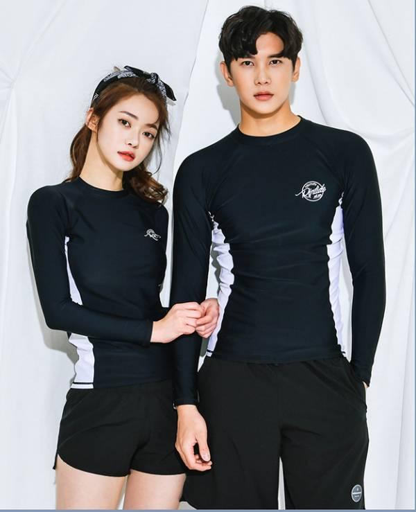 長袖情侶黑色白邊泳衣 情侶款泳衣,男款泳褲,泳裝