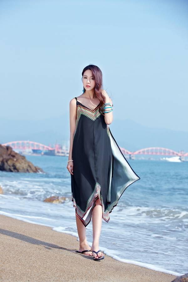 民族V領不規則度假長裙 渡假洋裝,長裙