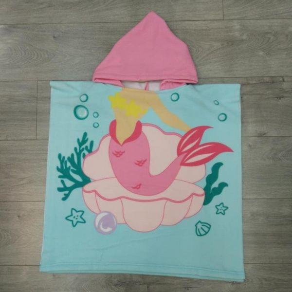 兒童造型連帽毛巾衣貝殼人魚公主 毛巾衣,浴巾,連帽浴巾