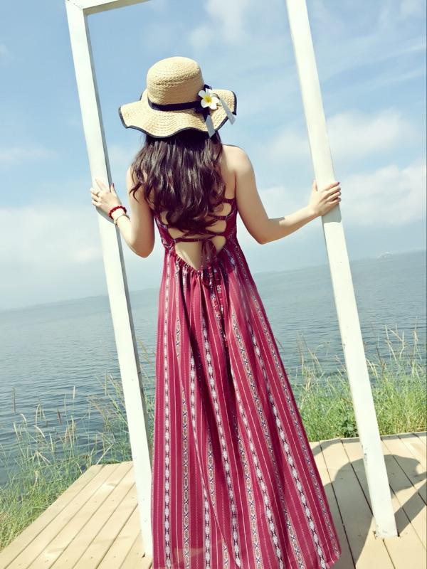 波西米亞民族風性感露背後交叉渡假長裙 渡假洋裝,長裙