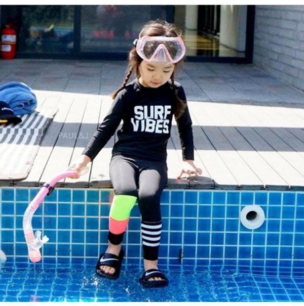 兒童長袖防曬撞色泳衣 兒童泳裝,女童,兒童泳衣
