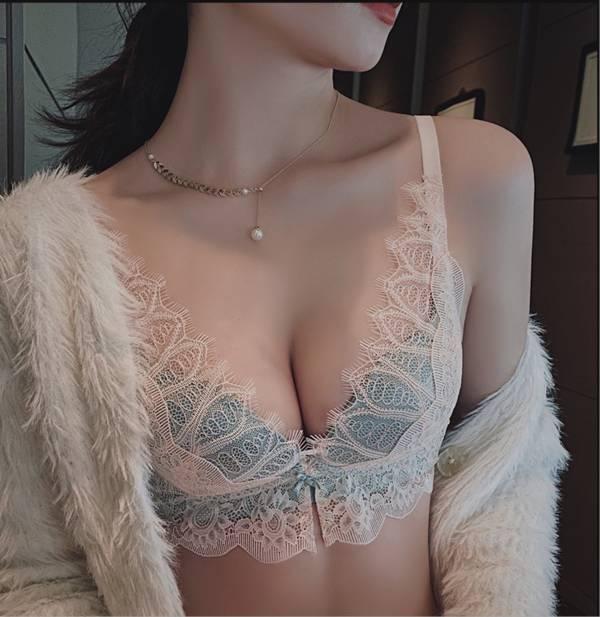 深V性感蕾絲無鋼圈內衣(撞色藍) 內衣,美胸內衣,集中內衣,性感內衣