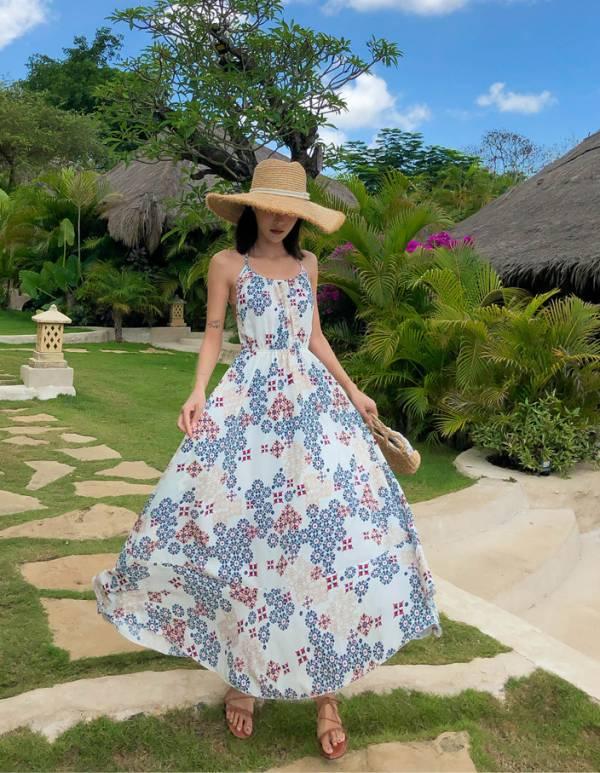 民族印花洋裝 渡假洋裝,長裙
