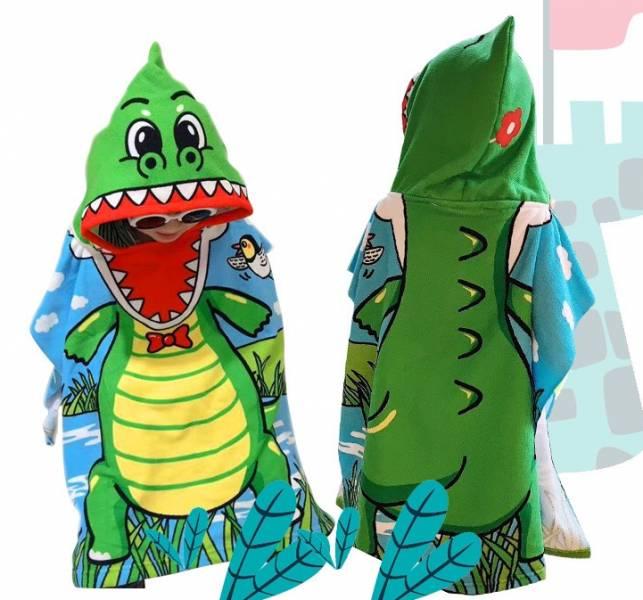 兒童造型連帽毛巾衣鱷魚 毛巾衣,浴巾,連帽浴巾