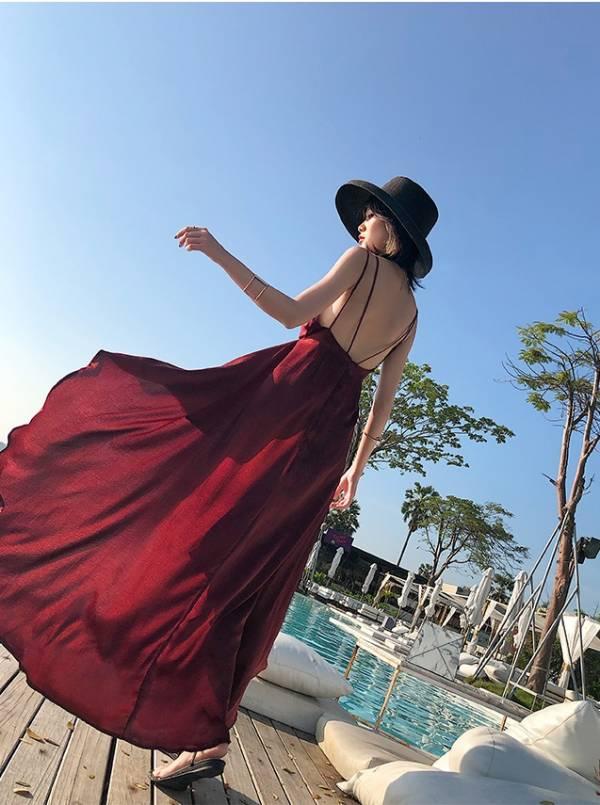 酒紅緞面美背度假洋裝 渡假洋裝,長裙