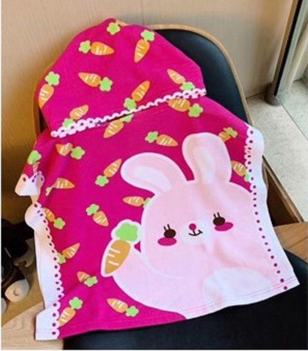 兒童造型連帽毛巾衣粉色兔子 毛巾衣,浴巾,連帽浴巾